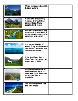Landforms quiz that is ELL friendly