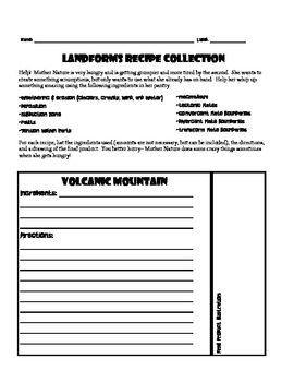 Landforms recipe book- a fun way to learn about landforms on Earth