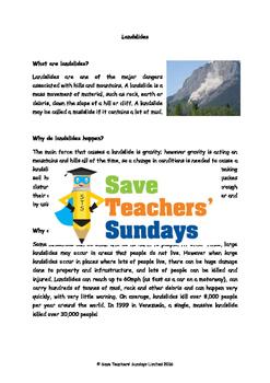 Landslides / Landslips Lesson plan, Text and Worksheet
