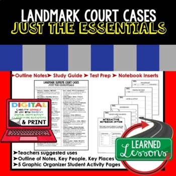 Landmark Cases Outline Notes JUST THE ESSENTIALS Unit Review