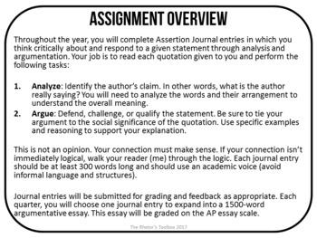 Landmark Rhetoric #1: Assertion Journal Prompts for Analysis & Argument