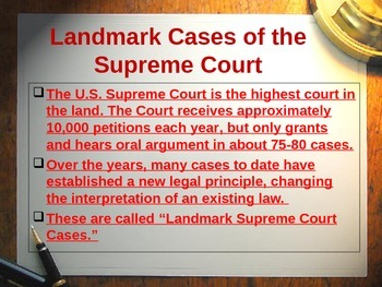 Landmark Supreme Court Case Summaries - 36 Most Significant Cases Middle  & High