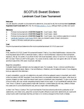 Landmark Supreme Court Case Tournament!!!!!!