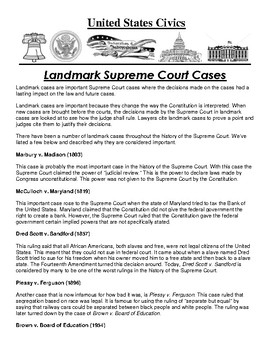 Landmark Supreme Court Cases Article and Assignment