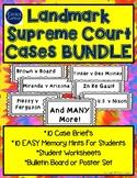 Landmark Supreme Court Cases Bundle:worksheets, posters, groups, EASY hints
