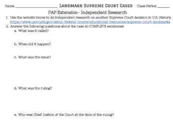 Landmark Supreme Court Cases Graphic Organizer