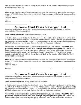 Landmark Supreme Court Cases Scavenger hunt