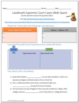 Landmark Supreme Court Cases Social Studies Webquest