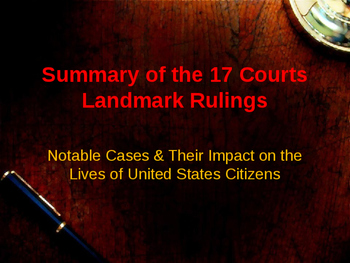 Landmark Supreme Court Cases - Summary of Each Courts Rulings