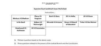 landmark supreme court cases worksheet by joshua richmeyer tpt. Black Bedroom Furniture Sets. Home Design Ideas