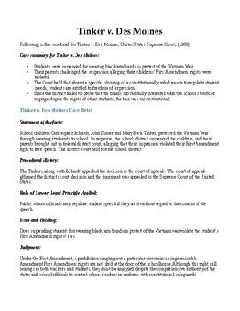 Landmark Supreme Court Decisions: Tinker v  Des Moines - student speech