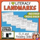 Landmark Themed ELA and Reading Skills Review Mini-Pack - Morning Work
