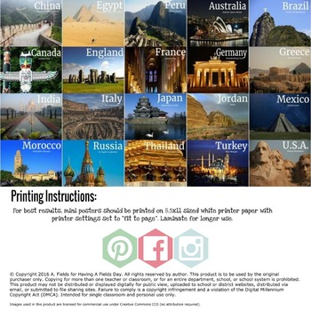 Landmarks Around The World Mini Posters