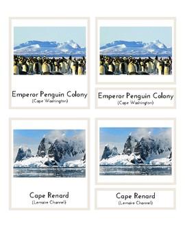 Landmarks In Antarctica (3-Part Montessori Cards)