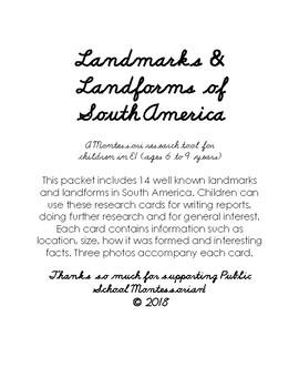 Landmarks and Landforms of South America Montessori Research Cards
