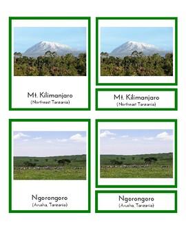 Landmarks in Africa (3-Part Montessori Cards)