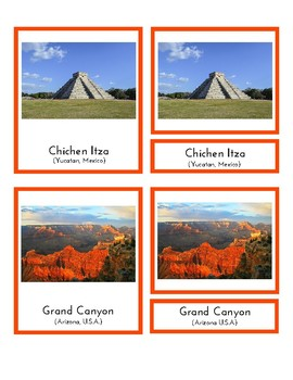 Landmarks in North America (3 Part Montessori Cards)