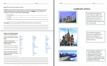 Landmarks of Asia - Geography