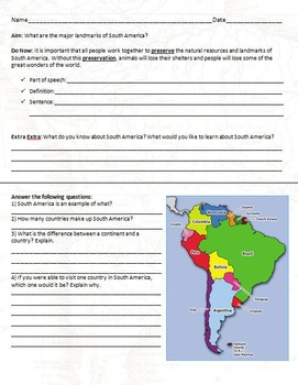 Landmarks of South America - Geography