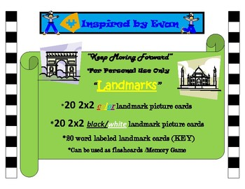 """""""Landmarks""""Picture Matching/Flashcards/Memory Game for Autism"""