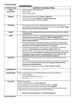 Reading Strategies - Landmines - Inferring - Questioning - Evaluation