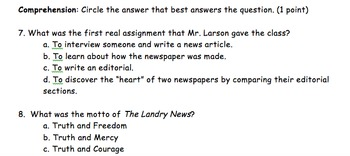 Landry News by Andrew Clements Book Test and Answer Key