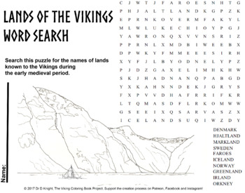 Lands of the Vikings word search