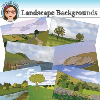 Landscape Backgrounds Clip Art {Mountains, Hills, Countryside}
