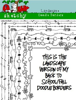 Landscape Doodle Borders / Back to School Theme/ Fall - Hand Drawn / Freehand