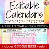 Landscape Editable Calendar 2020-2021 Watercolor for Power