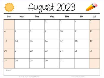 Landscape Editable Calendars 2017-2018 - August 2017 to December 2018