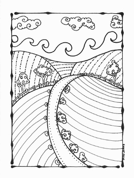 Landscape Fall Farm Coloring Page Summer