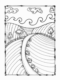 Landscape Fall Farm Coloring Page. Summer.