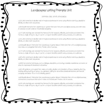 Landscapes and Academic Words Writing Prompts for Multiple Subjects