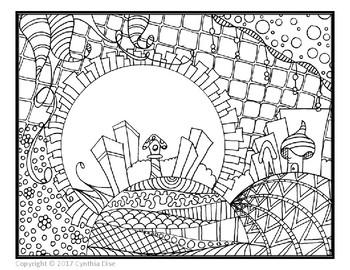 Landscape Zentangle Coloring Sheet