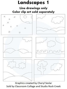 Landscapes 1 Clip Art - Black and white line drawings - pers & comm