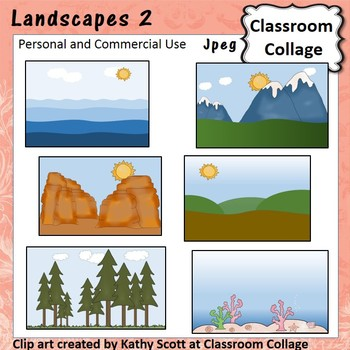 Landscapes 2 Clip Art Color pers & comm ocean fields mountains canyons K. Scott