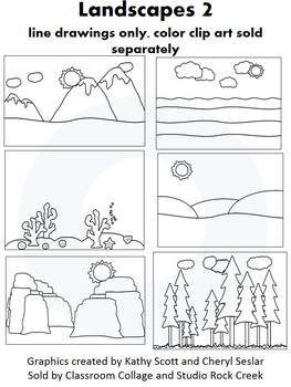 Landscapes 2 Clip Art - line drawings - pers & comm ocean field mountain canyons
