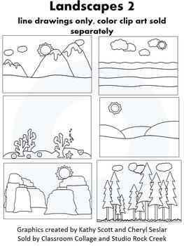 Landscapes 2 Clip Art - line drawings - pers & comm ocean