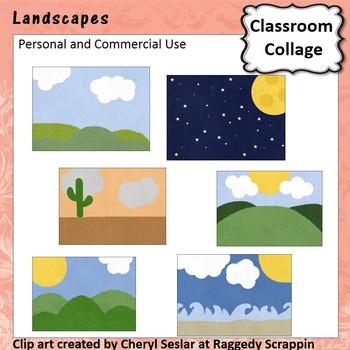 Landscapes Clip Art - Color - pers & Comm Space, Beach, Desert C Seslar