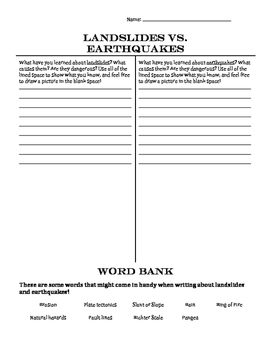 FREE!! Landslides vs. Earthquakes T-Chart