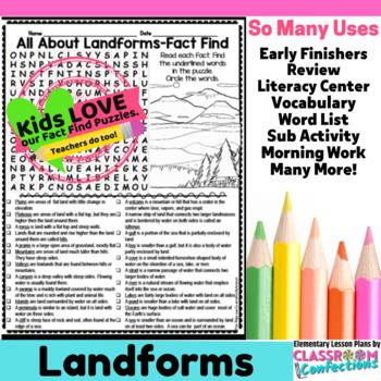 Landforms Activity: Landforms Word Search (non-fiction, reading)
