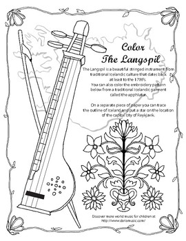 Langspil - Icelandic Instrument Coloring Page
