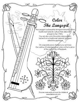 Langspil - Icelandic Instrument Mini-Poster + Coloring Page