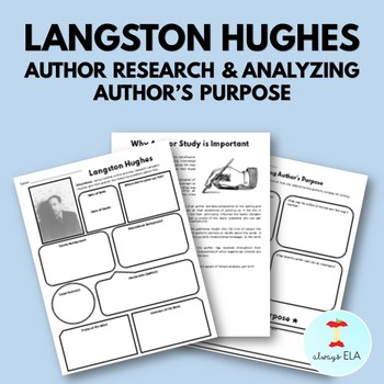Langston Hughes - Author Study Worksheet, Author's Purpose, Author Research