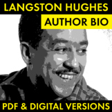 Langston Hughes Author Study Worksheet, Easy Biography Activity, CCSS