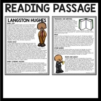 Langston Hughes Biography Reading Comprehension Worksheet ...