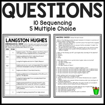 Langston Hughes Biography Reading Comprehension Worksheet ...