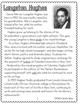 Langston Hughes Close Reading Unit (Individual Unit)