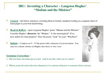 Langston Hughes Common Core Grammar-Characterization-Stereotype Activity